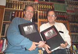 Jerad Walters of Centipede Press (right) is holding the 1 of 15 Deluxe edition (roman numeral #1 in red ink) of the limited edition Salem's Lot.�Robert Drew of Rare*Collectible*Books (left) am on the left holding the 1 of 300 numbered editions (#1 in black ink)